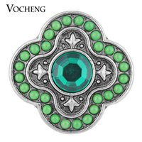 Wholesale Wholesale Bead Custom Jewelry - VOCHENG NOOSA 18mm Custom Snap Button 2 Colors Round Bead Rhinestone Glam Jewelry Vn-1118