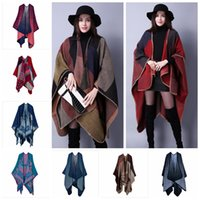 Wholesale Oversized Knitted Scarf - 18 styles New Winter designer Oversized Thick Warm Plaid Scarves Knit Shawl Fashion Vintage Pashmina Cashmere Scarf Women Poncho Cape YYA454