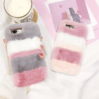 Wholesale rabbit skin fur - For iPhone X edition 8 Plus Warm Rabbit Fluffy Colorful Villi Fur Plush Hard PC Case Cover Skin for iPhone 6 7 DHL free shipping SCA364