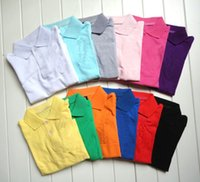 Wholesale long sleeve polo style shirts - Wholesale 7-14T student shirt children long sleeve polo shirt pure solid color boys spring autumn shirts girls boys crocodile embroidery top