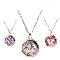 Wholesale Dried Flowers Glass - Locket Necklaces for Women Fashion Jewelry Romantic Crystal Glass Heart Shape Floating Locket Dried Flower Plant Pendant Chain Necklace