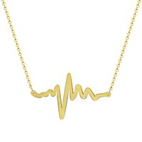 Wholesale Powerful Necklace - Wholesale 10Pcs lot 2017 Promotion Stainless Steel Jewelry Pendant Powerful Heartbeat Silver Necklaces Heart Rate Pulse Gold Chains Necklace