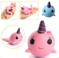 Wholesale Big Whales - Squishy Unicorn Mini Whale Cream Scented Squeeze Slow Rising Toy Funny Squeeze toys Children Gift pink Blue color KKA3010