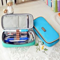 Wholesale Korea Office Bags - 3 colours Korea Magic Channel Large Capacity Multifunctional Canvas Pencil Cases Big Leather Pen Bags Box for Boys Girls School Stationery