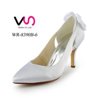 Wholesale Ivory Bow Kitten Heels - 2016 Ivory Color Pump Toe Bow Elegant Style Bridal Shoes Wedding Dress Shoes Handmade Shoes for Wedding From Size35-Size 42 Free Shipping