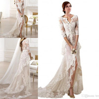 Wholesale high low skirt cheap - 2018 Sexy Lace Designer V neck Half Sleeves High Low Applique Custom Made Wedding Dress Bridal Dresses Front Split Tiered Sheer Cheap Dress