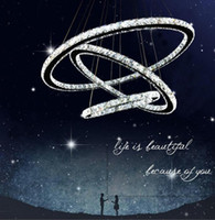 кольцо с бриллиантами оптовых-2017 горячие продажи горячей продажи кристалл алмаза кольцо LED хрустальная люстра свет современный Кристалл подвесной светильник 3 круга разного размера позиции