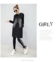 Wholesale Long Hooded Women S Sweater - 2017 Hot sales Autumn Winter women high quality Fashion wing pattern suit In the long section Hooded sweater suit size S-XL