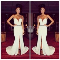 Wholesale Sweetheart Natural Waist White Dresses - 2016 White Sweetheart Arabic vestido de festa Mermaid Prom Dresses Sweetheart Beaded Crystal Waist Evening Dress Natural Slim Myriam Fares