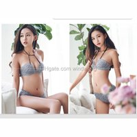Wholesale Sexy Bra Panty Sets Padded - 6.8Z 2018 new arrival Bra half (1 2Cup) Sexy Bra Set New Women Plus Size Push Up Underwear And Panty B Cup For Female