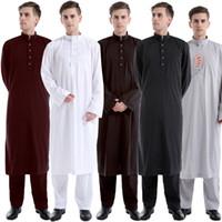 Wholesale Islamic S - New 2017 Muslim Men Long Sleeve Thobe with Pant Islamic two pieces Clothing Saudi Arab Moslim Jurk Clothing Mens Kaftan Thobe set