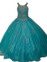 Wholesale Girls Pageant Dress Little Rosie - 2016 New Exquisite Jewel neckline little rosie girls long pageant dresses Kids Party Ball Gowns Skirt