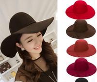 Hot Sale Retro Ladies Women Wool Felt Fedora Floppy Cloche Wide Brim  Bowknot Hat Cap Free Shipping 84dd539d5f5b