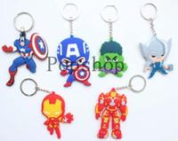 Wholesale Thor Key Ring - FREE SHIPPING 160 Pcs Anime Cartoon Cool ! Super Hero Hulk Iron man Thor Captain America PVC Key Ring Chain Loose