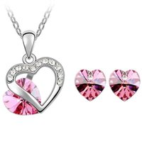Wholesale Yellow Swarovski Crystal Necklace - Austrian Crystal 18K Gold Plated Heart Pendant Necklace Fashion Crystal from Swarovski Elements Jewelry Sets For Women Stud Earrings 4351