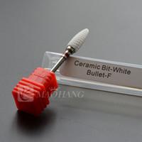 Wholesale Mills Art - 1PCS Fine White Ceramic Nail Drill Bit Milling Cutter Nail Art Salon Electric Drill File Manicure Machine Nail Art Tools