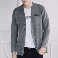 Wholesale Teenage Boys Sweaters - Sweater Mens Winter 2017 Long Sleeve Gray Knitted Cardigan masculino Teenage Boys Casual Coats Fashion Slim Fit V Neck Clothes For Men