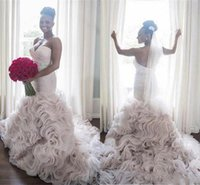 Wholesale Organza Mermaid Strapless Wedding Dress - 2017 African Rich Plus Size Wedding Dresses Mermaid Sweetheart Strapless Sweep Train Tiered Organza Bridal Gowns Custom Made Free Shipping