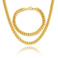 Wholesale Black Curb Chain Necklace - Layered Curb Link Chain Necklace Bracelet Set 18K Real Gold Rose Gold Platinum 6 Sizes Fashion Men Jewelry Accessories