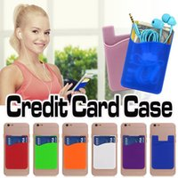 Wholesale Wallet Case For Android - Ultra-slim Self Adhesive Credit Card Wallet Silicone Universal Card Set Card Holder Case Cover For Android iPhone X 8 7 Samsung Note 8 S8