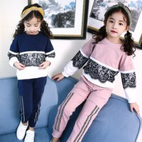Wholesale Blue Head Pieces - 2017 Fall New Girl Set Korean Children's Lace Sleeve Head Splicing Two Sets Sports Suits