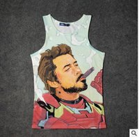 Wholesale Funny Pictures Print - Wholesale- Summer Men 3d Smoking Iron Man Tank Top Slip surface 2 sides Funny Pictures casual head jersey