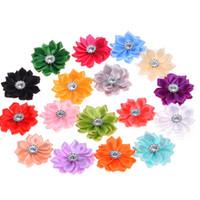 Wholesale Decoration Small Flowers - Wholesale 100pcs Mini Ribbon Flowers sharp corner Ribbon flower Wedding decoration Small Hair Flowers No Hair clips