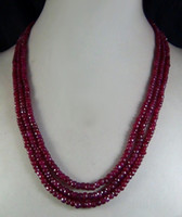 Envío gratis Moda 2x4mm <b>NATURAL RUBY FACETED BEADS</b> NECKLACE 3 STRAND