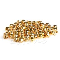 Wholesale Wholesale Candle Charms - Wholesale-100pc Small Bell Craft Jewelry Wedding Charms 6mm Bead Findings Gold Mixed Color
