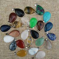 Wholesale Flat Steel Water - 2017 Stone flat drop pendant in various colors Natural stone water drop Charm pendant
