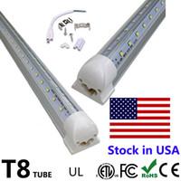 Wholesale Door Dual - V-Shaped 4ft 5ft 6ft 8ft Cooler Door Led Tubes Light T8 Integrated Led Tubes Dual Rows SMD2835 Led Fluorescent Lights AC 85-265V