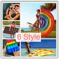 Wholesale Rainbow Bedding - INS HOT Inflatable Rainbow Pizza Bread 180cm Giant Pool Women Men Swimming Ring Float Holiday Ride-On Beach Water Adult Toy Air Bed
