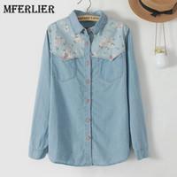 Wholesale Girls Denim Blouses - Mferlier Mori Girl Autumn Denim Woman Shirt Floral Patchwork Jeans Blouse Long Sleeve Blouse Femme Plus Size Blusa