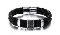 Wholesale Male Personality - 2017 Retro fashionable personality braided bracelet leather bracelet male magnet buckle bracelet
