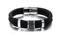 ingrosso magnetico in braccialetto in pelle intrecciata-Il braccialetto di cuoio del braccialetto del magnete del magnete del braccialetto di cuoio del braccialetto intrecciato retro personalità alla moda 2017