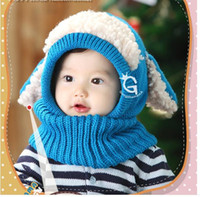 Wholesale Crocheted Baby Shawls - Baby Winter Beanies Kids Children Warm Hat With Hooded Conjoined Scarf Earflap Shawl Knit Wool Warmers Beanie Caps Hot Sales Gift Wholesale