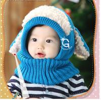 bebek şal şapkaları toptan satış-Bebek Kış Kasketleri Çocuk Çocuk Sıcak Şapka Kapşonlu Yapışık Eşarp Kış Kulaklığı Şal Örgü Yün Isıtıcıları Bere Kapaklar Sıcak Satış Hediye Toptan