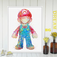 Wholesale Poster Super Mario - ome Decor Painting Calligraphy 3 Modern Abstract Watercolor Super Mario Japanese Game Poster Print A4 Wall Art Picture Kids Room Decor Ca...