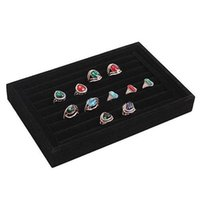 Wholesale Jewellery Ring Trays - Full Soft Nap Ring Earrings Bracelet Necklace Velvet Jewellery Display Cufflinks Storage Tray Case Holder Organizer Disc