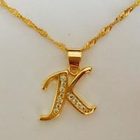 Wholesale Letter K Pendant - Gold Plated Necklace Women Men Capital Initial k Letter Pendant & Necklace Crystal Fashion Alphabet Letter Necklace