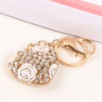 Wholesale Rose Purse Charm - Sweet LOVE Heart Rose Flower New Cute Crystal Charm Pendant Purse HandBag Car Key Ring Chain Wedding Party Jewelry Gift