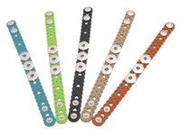 Wholesale Kids Stainless Steel Bracelets - Dark buckle 2016 Leather Kids Childrens Colorful Hear Hollow Out Noosa Chunks Snap Button Leather Bracelets Ginger Snaps Interchangeable DIY