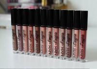 nyx lip lingerie venda por atacado-Frete Grátis ePacket Nova Maquiagem Lábios NYX Lip Lingerie Fosco Lip Gloss Líquido Batom Fosco!