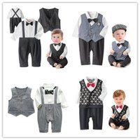 Wholesale Baby Romper Suit Tie - Infant baby waistcoat jumpsuits gentleman style spring autumn long sleeve cotton baby romper with bow tie toddler 0-2Year baby suit clothing