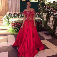 Wholesale Engagement Dress Long Sleeve - Hot Sale A-Line Red Prom Dresses 2017 Vestidos De Festa Vestidos Longo Plus Size Long Beading Dresses Engagement Dresses Free Shipping