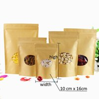 Wholesale 100pcs sizes Kraft Paper Packaging bag Transparant round windows Stand Up Zipper Packing Bags Zip Lock Retailer Package