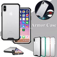 Wholesale Iphone Armor Hybrid - For iPhone X 8 7 6 6s 6sPlus Armor Case Crystal Clear Hybrid Phone Case For Samsung S8 S8Plus S7 S7Edge Bumper Cover