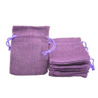 мешки оптовых-7x9 см искусственный джут Drawstring ювелирные изделия сумки конфеты бисер небольшие мешки мешковины пустой льняной ткани подарочная упаковка сумки мешковины мешок для продажи фиолетовый