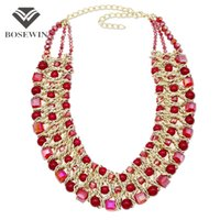 Wholesale beaded maxi - Handmade Woven Crystal Choker Necklaces For Women fashion Statement Jewelry Chunky Crystal Beaded Maxi Necklaces Collier CE3930