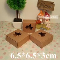 Wholesale Custom Cookie Boxes - Retail Maple Window Brown Kraft Paper Box DIY Cookies Craft Gift Soap Custom Boxes 6.5*6.5*3cm Free Shipping